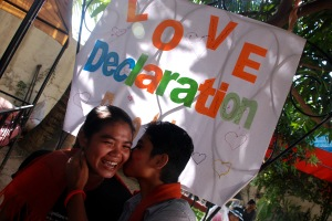 Two LGBT Cambodians celebrate Gay Pride in 2010. (c) CCHR